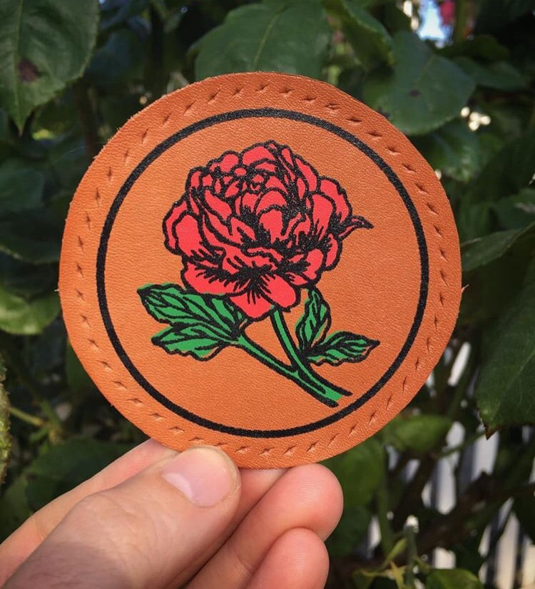 Rose leather patch