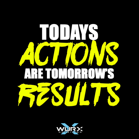 Todays Actions are tomorrows results | Motivational quote  | Wurx Nutrition