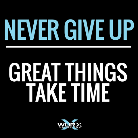 Never Give Up, Great things take time | Motivational quote | Wurx Nutrition
