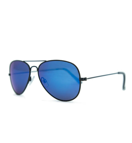2713 Polarised Shiny Black with Blue Mirror   lens