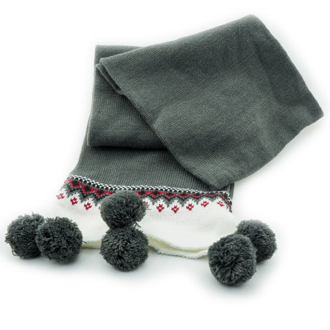 Allium Ladies Grey Scarf with Pom Pom Bobbles