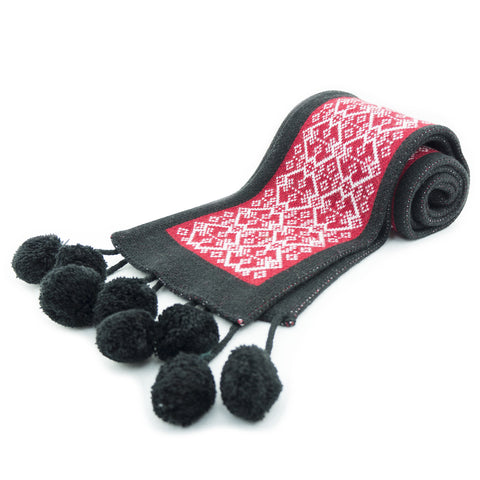 Bromelia Ladies Black and Red Scarf with Pom Pom Bobbles