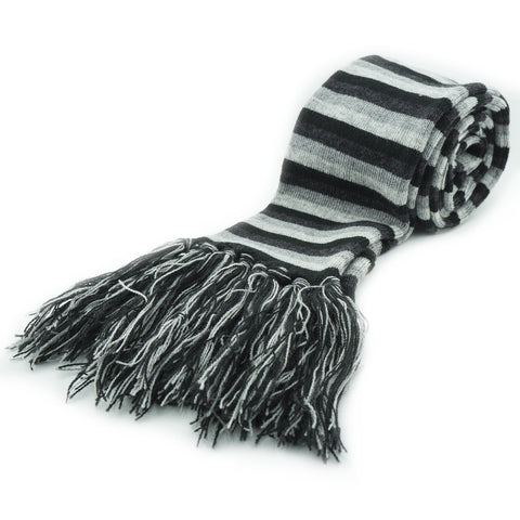 Calla Unisex Black and Grey Striped Long Scarf with Fringing