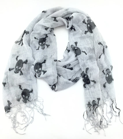 Kari Ladies Grey Cotton Skull Print Scarf with Fringing