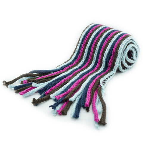 Krista Unisex Scarf with Multi Colored Stripes and Knitted Fringed Ending