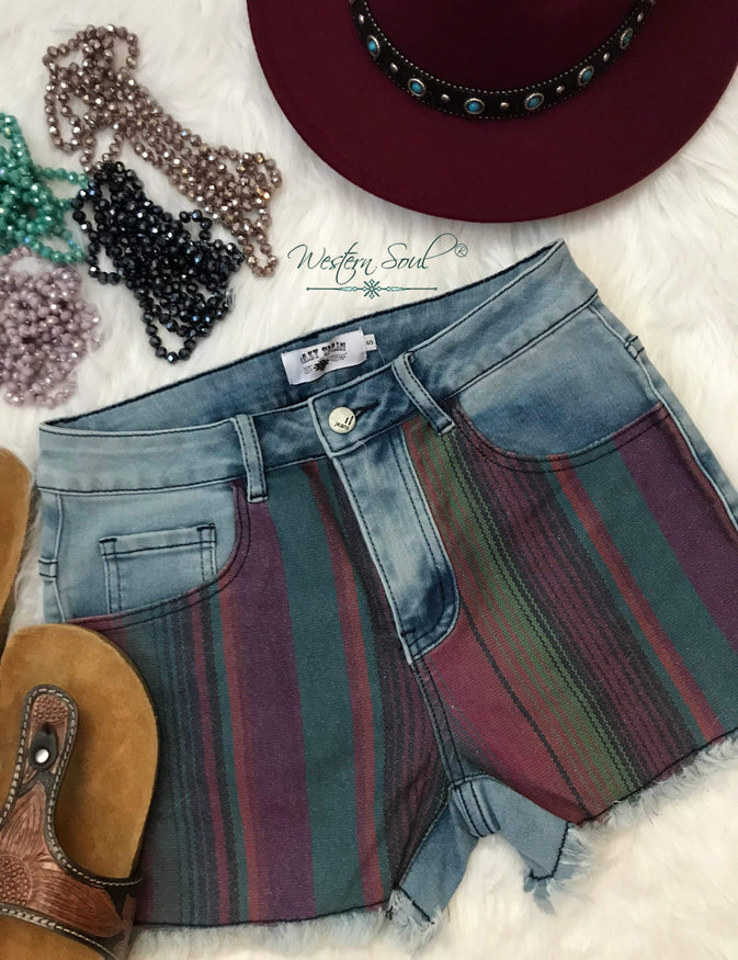 crazy train shorts,  leather sandals, womens fedora, beaded necklaces