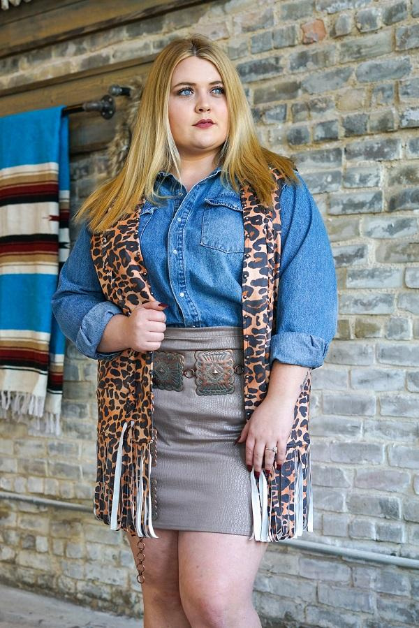 Wild Child Leopard Fringe Vest