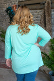 Basic Babe Mint 3/4 Sleeve Tunic