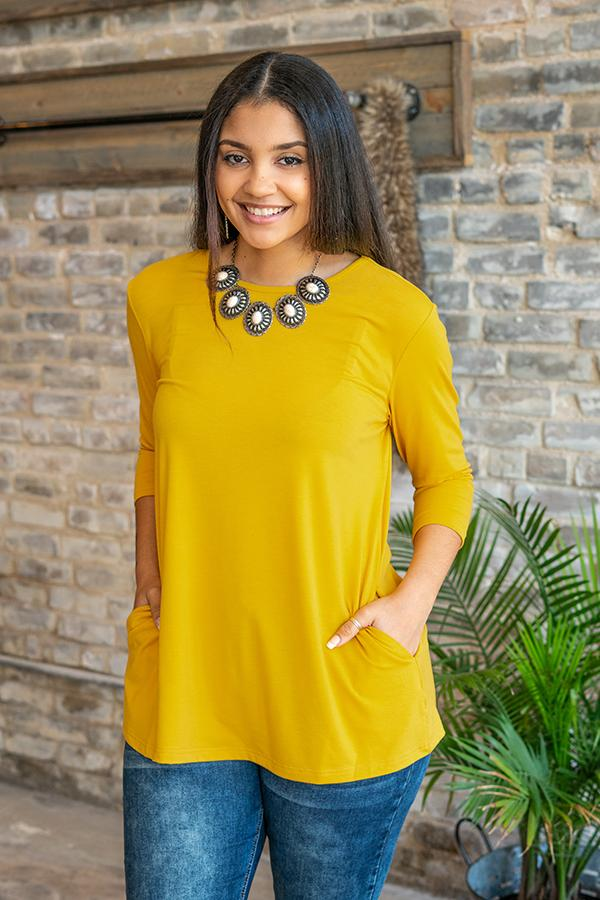 Basic Babe Mustard 3/4 Sleeve Tunic