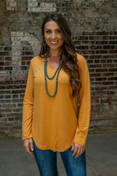 Basic Mustard Long Sleeve Top