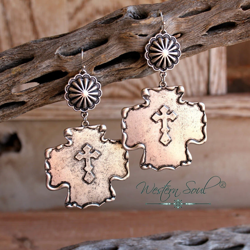 Concho Cross Earrings