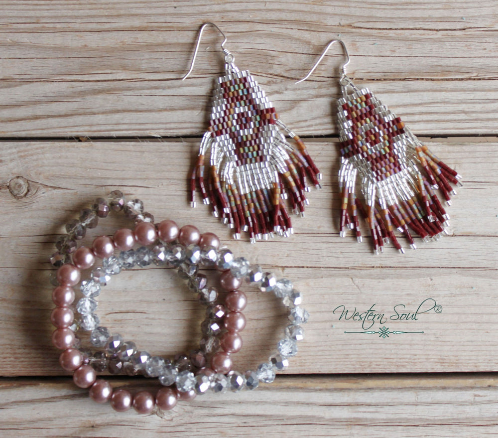 Silver Rose Seed Bead Earring Set
