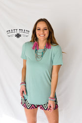 Crazy Train Basic Robin Egg Blue Top