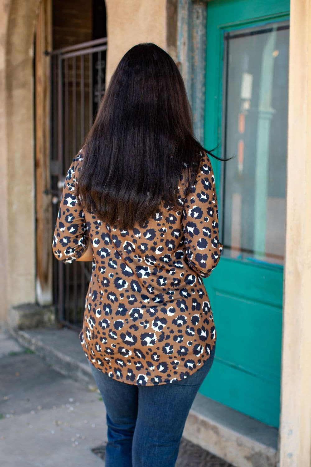 Studded Chocolate Leopard Top