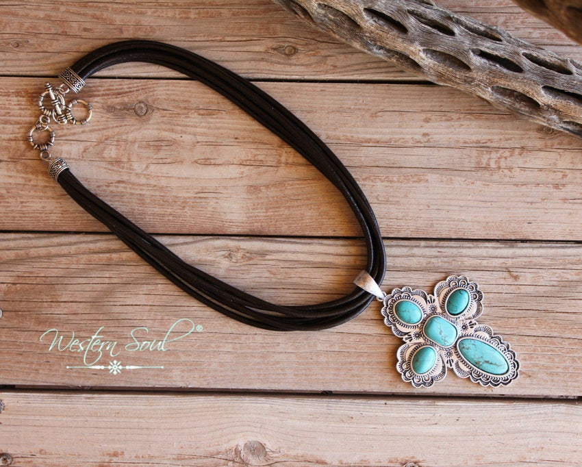Blue Ridge Turquoise Cross Necklace