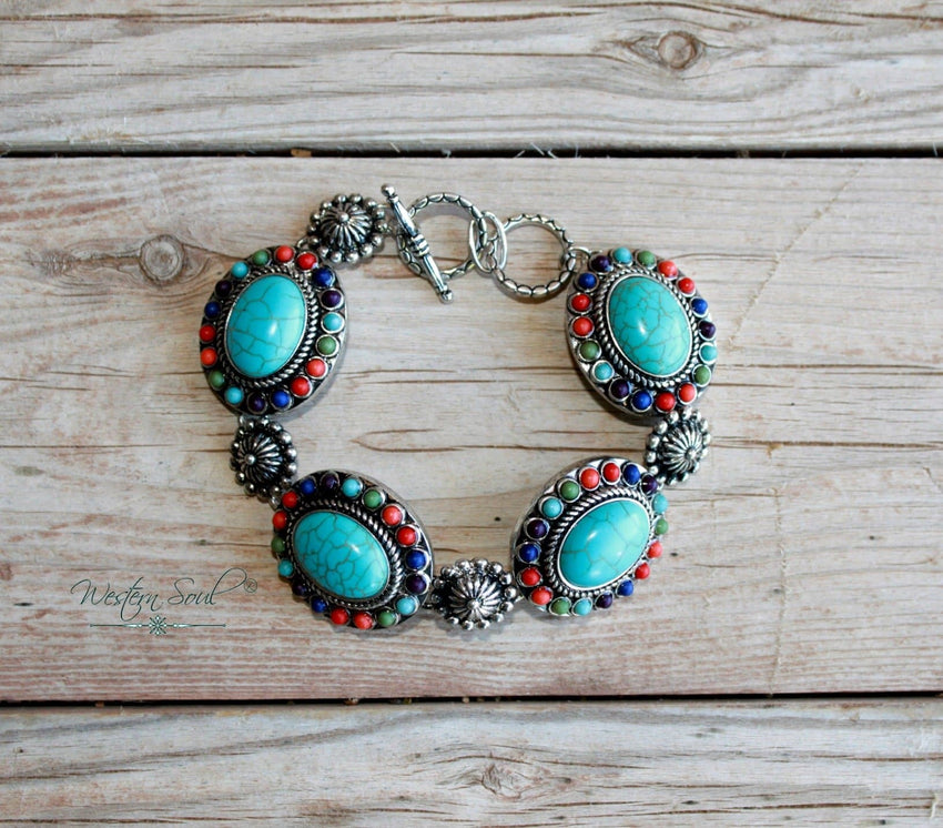Flowers and Conchos Link Bracelet