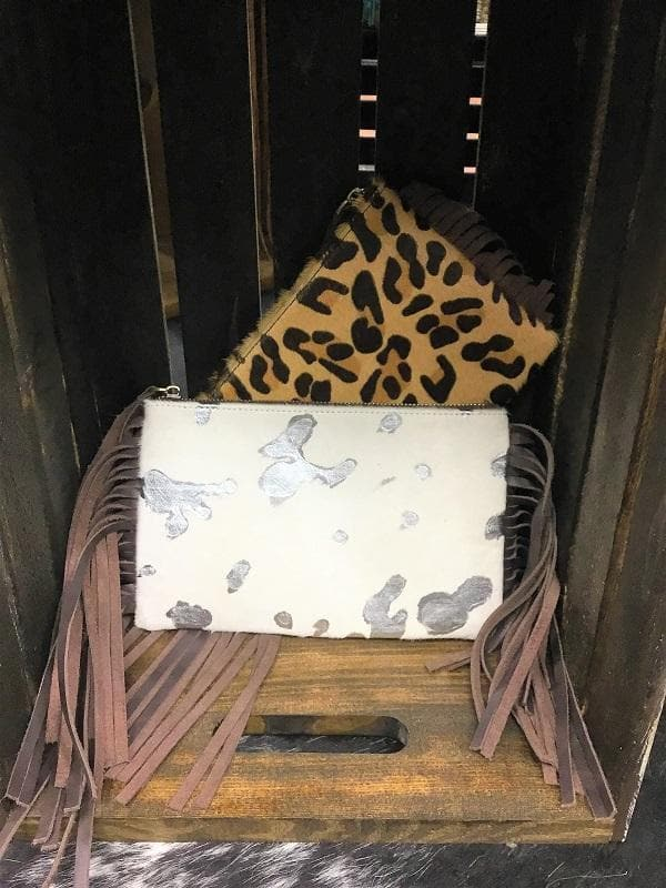 Leopard and Cowhide Dual Sided Clutch