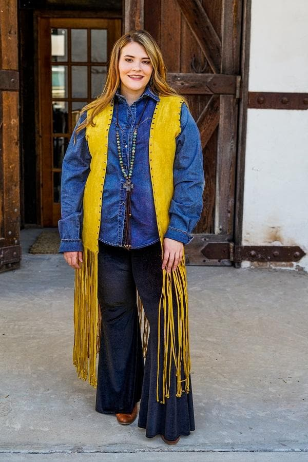 Yellowstone Fringe Vest plus sized front
