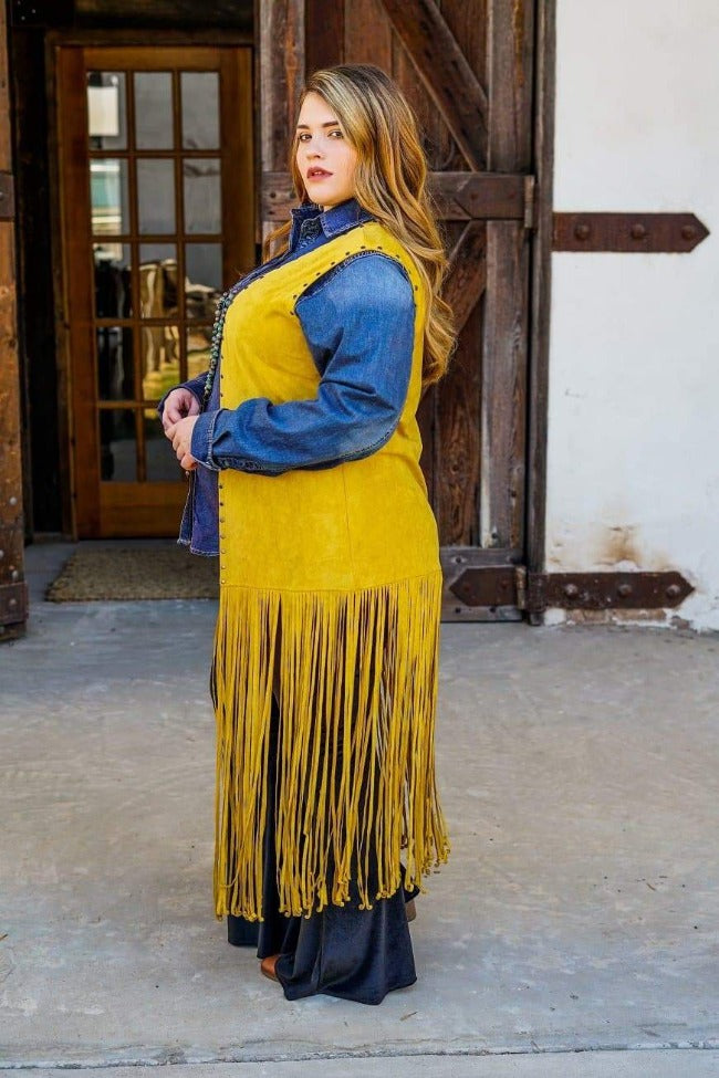 Yellowstone Fringe Vest plus sized back