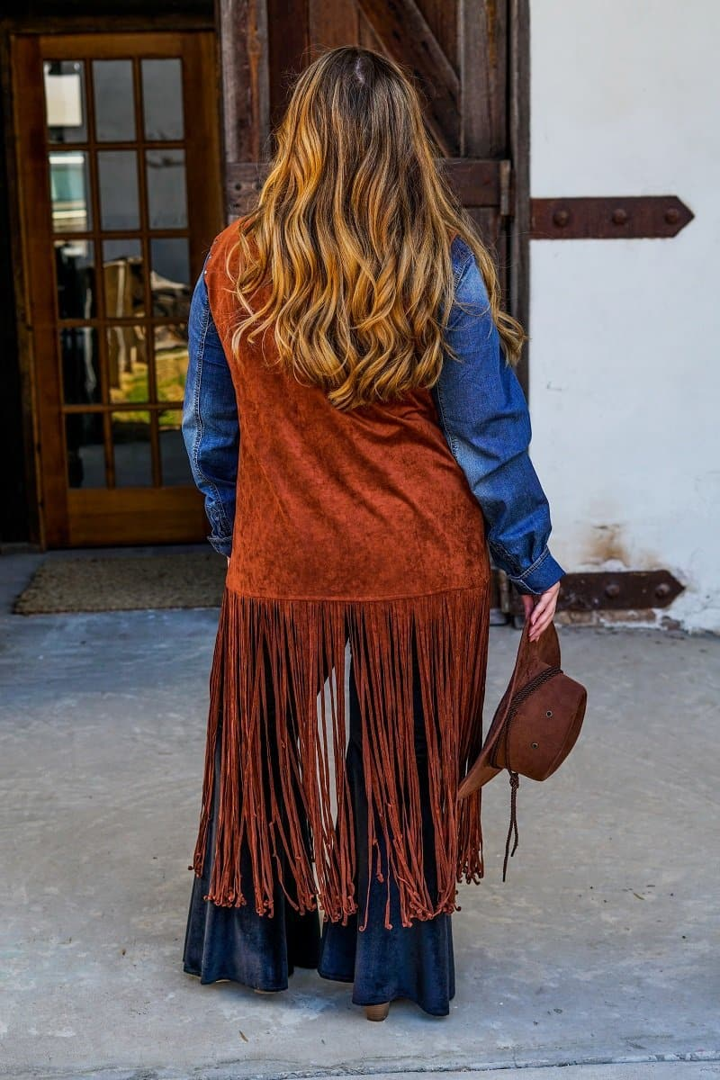 plus size fringe vest with studs back