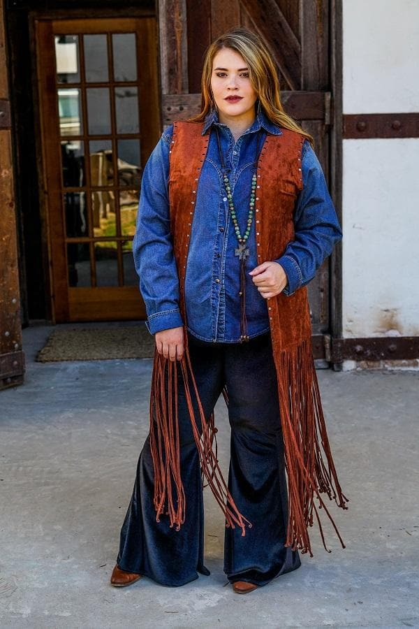 cowgirl fringe vest with studs