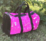 Hair On Hide Pink Acid Wash Duffel Bag