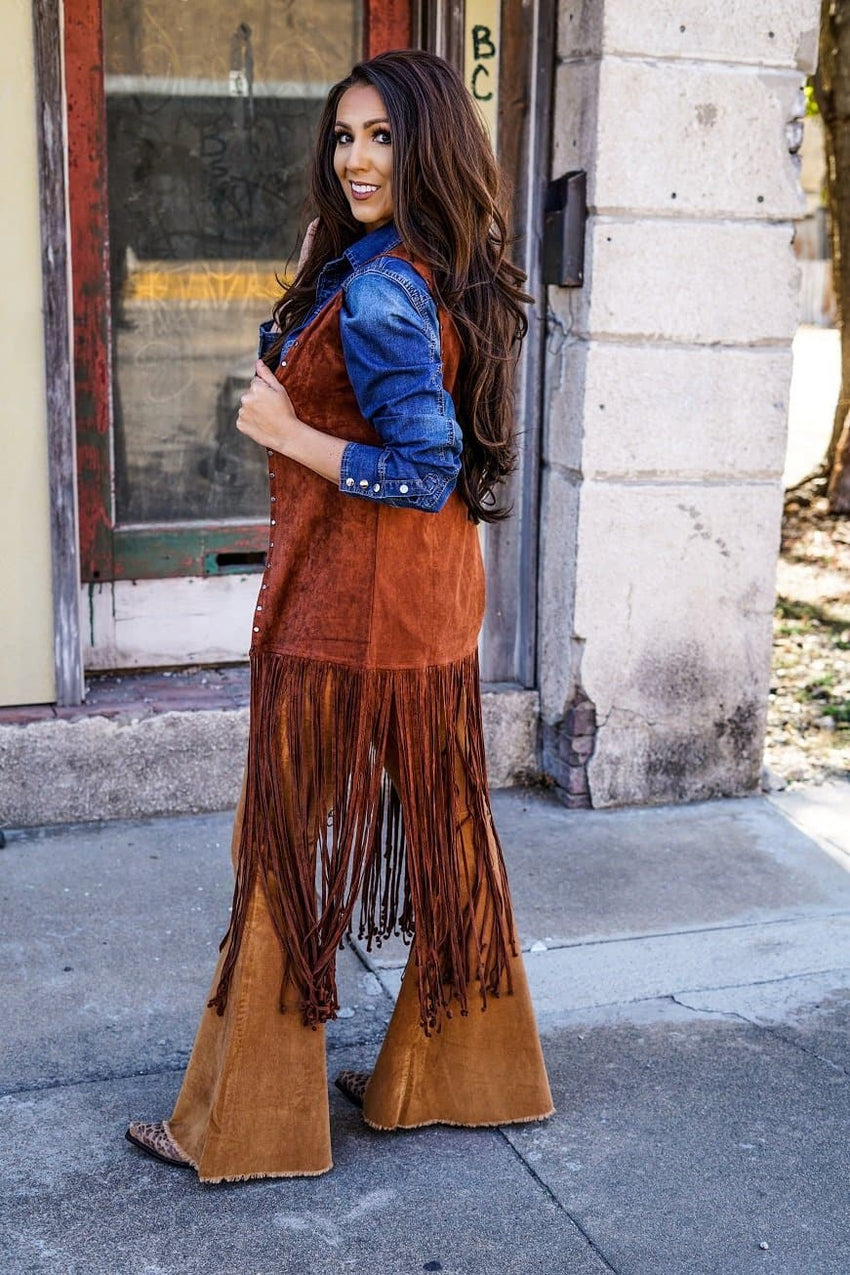 The Outlaw Brown Fringe Vest