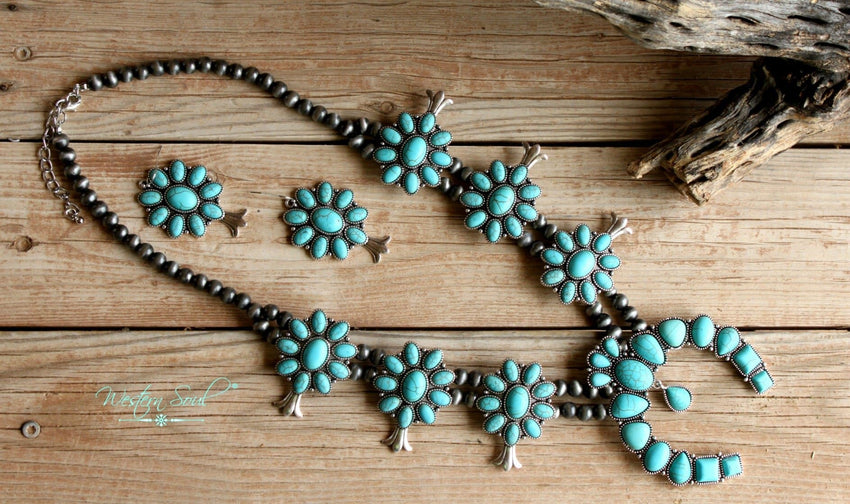 Wild Horse Squash Blossom Necklace Set