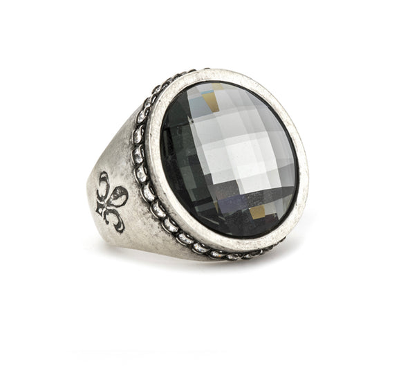 SILVER SWAROVSKI SIGNET RING WITH BLACK DIAMOND SWAROVSKI