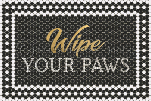 BLACK MOSAIC WIPE YOUR PAWS WITH GOLD SCRIPT VINYL FLOOR MAT