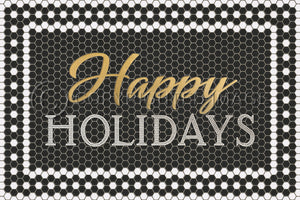 BLACK MOSAIC HAPPY HOLIDAYS WITH GOLD SCRIPT VINYL FLOOR MAT