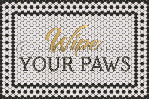 WHITE MOSAIC WIPE YOUR PAWS WITH GOLD SCRIPT VINYL FLOOR MAT