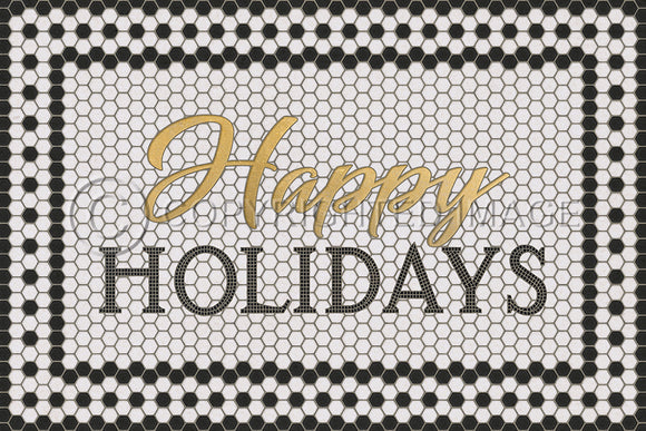 WHITE MOSAIC HAPPY HOLIDAYS WITH GOLD SCRIPT VINYL FLOOR MAT