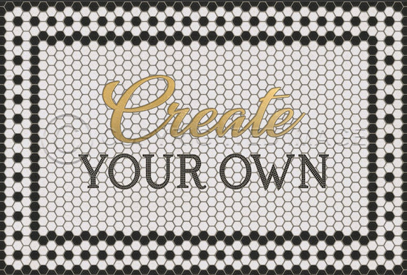 WHITE MOSAIC CUSTOMIZED 8TH AVE WITH GOLD SCRIPT VINYL FLOOR MAT