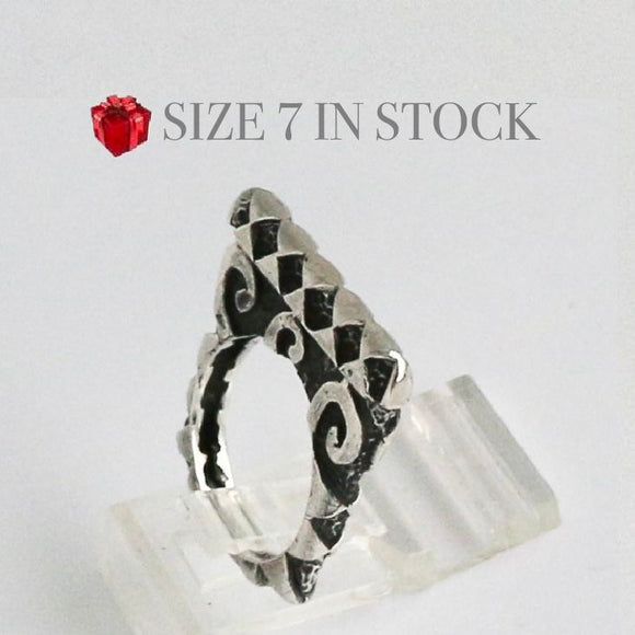 Silver Swirl Hammered Stack Ring