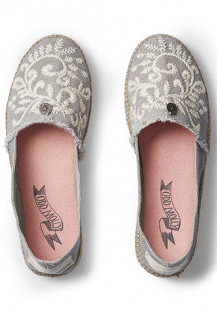 Grey Embroidered Espadrilles