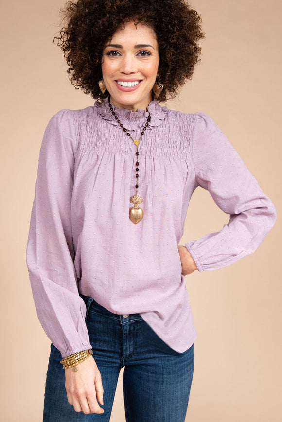 Berry Ruffled Neck Top