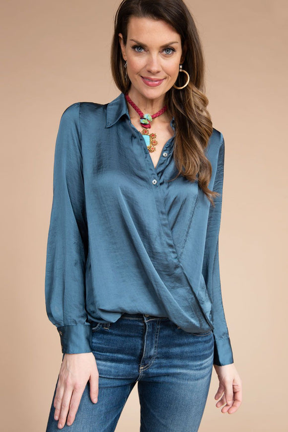 Teal Silky Blouse