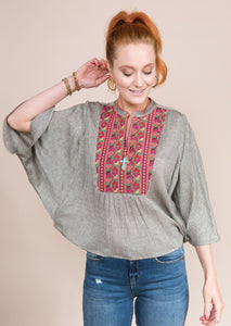 Poncho Embroidery Top