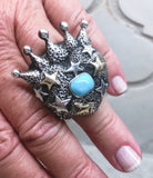 Crowned Heart with Turquoise and Stars Ring