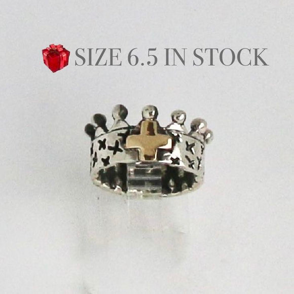 Crown Ring with Gold Cross