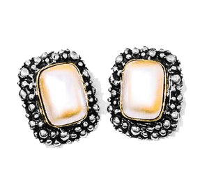 Pearl earrings with sterling caviar and 14 Karat bezel