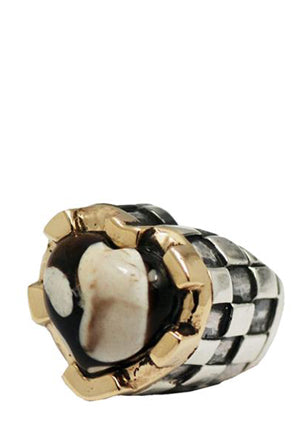 Heart Stone with Checkered Shank Ring