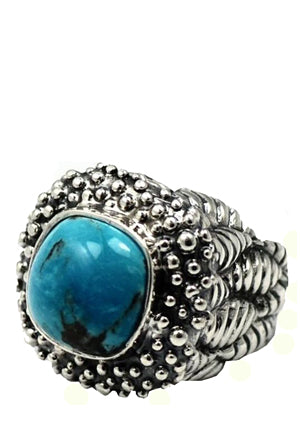Caviar Top Ring with Stone