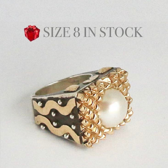 14kt Gold Cross Hatch with Pearl Ring