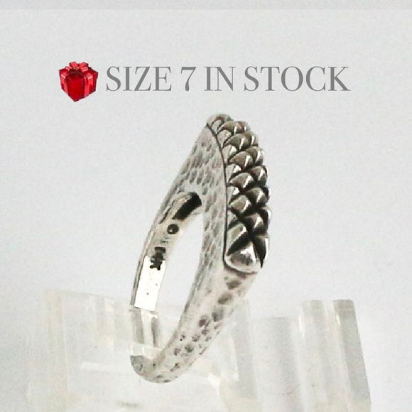 Silver Hammered Shank with Quilted Top Stack Ring