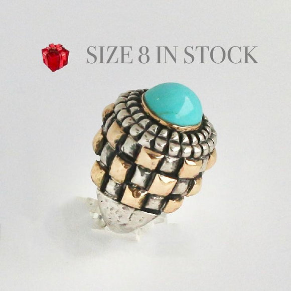Dome Kingman Turquoise with Gold Crown Bezel Ring