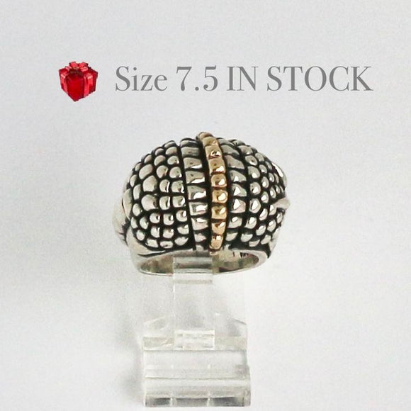 Silver and Gold Armadillo Ring