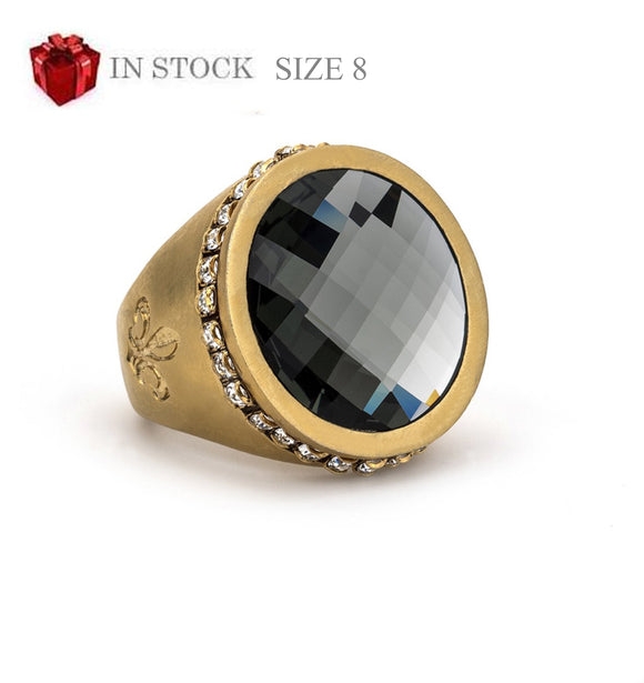 Gold Swarovski Signet Ring with Black Diamond Swarovski