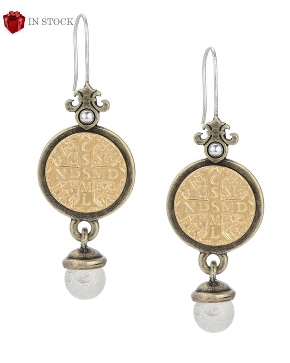 Prefere Earrings with St. Benedict Medallion and White Fire Agate Dangle